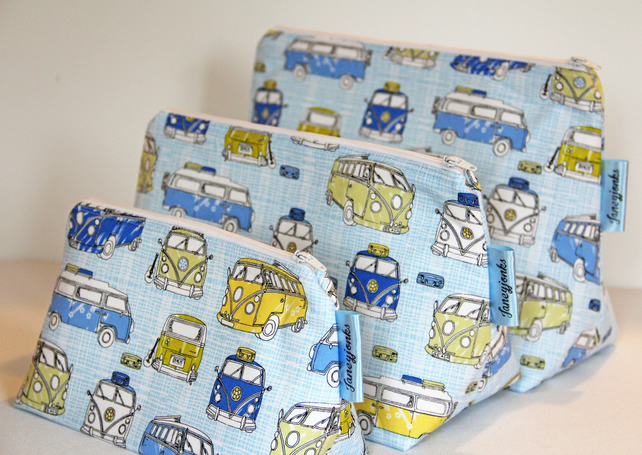 Retro Vintage Style Classic Blue VW Camper Van Large Wash Bag. Great gift