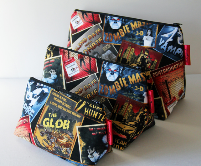Retro Vintage Style Zombie Horror Film Fabric Medium Wash Bag