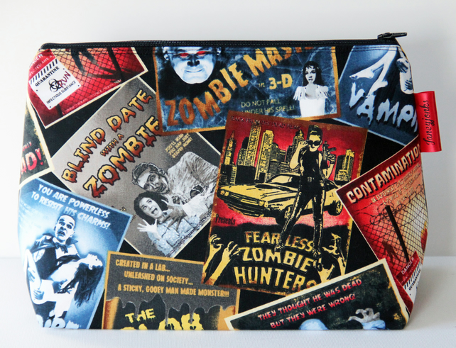 Retro Vintage Style Zombie Horror Film Fabric Large Wash Bag