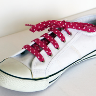 Retro Cute Rockabilly Fuschia Pink Polka Dot Patterned Shoelaces. Great Gift.