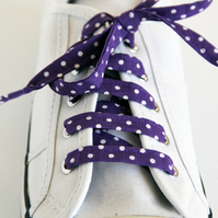 Retro Cute Rockabilly Purple Polka Dot Patterned Shoelaces. Great Gift.
