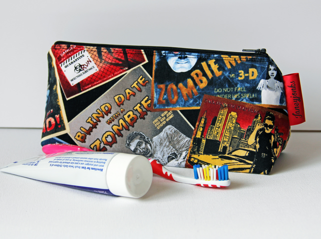 Retro Vintage Style Classic Zombie Film Fabric Toothbrush Sleepover Washbag