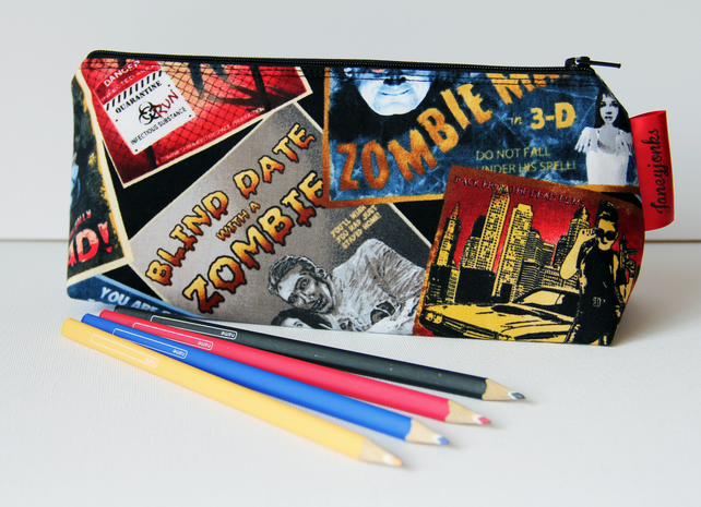 Retro Vintage Style Classic Zombie Film Fabric Pencil Case