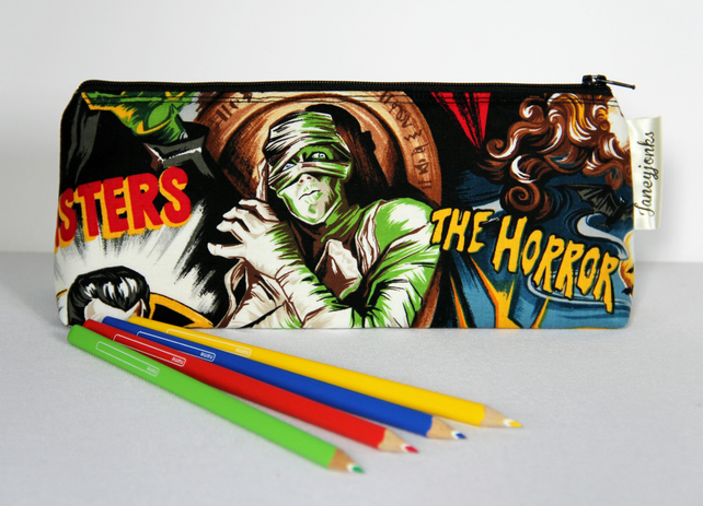 Retro Vintage Style Classic Horror Film Pencil Case with Waterproof Lining