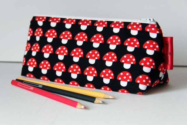 Cute Mini Mushrooms Pencil Case with Waterproof Lining. Great Gift for Children