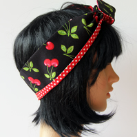 Retro Reversible Fifties Style Black Cherries Hair Wrap. Head Scarf. Bandana.