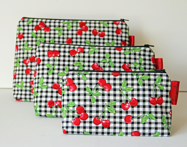 Gorgeous Retro Checked Cherries Fabric Makeup Bag. Kitsch. Great Gift for Ladies