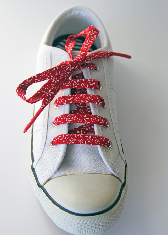 Lovely Red Leaf Patterned Cotton Shoelaces. Great Gift for Ladies
