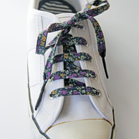 Dainty Navy and Purple Floral Patterned Cotton Shoelaces. Great Gift for Ladies