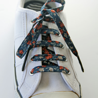 Pretty Navy and Rust Floral Patterned Cotton Shoelaces. Great Gift for Ladies