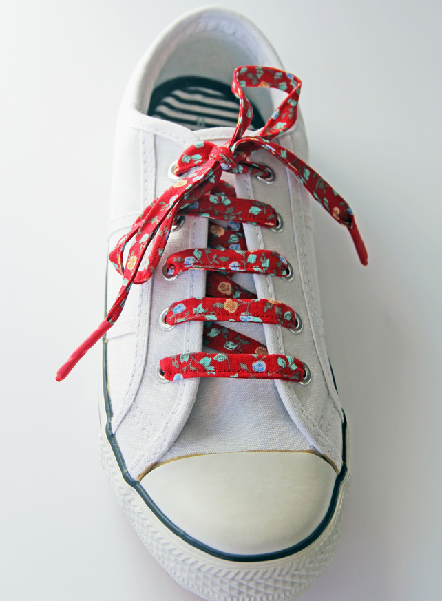 Lovely Red Floral Patterned Cotton Shoelaces. Great Gift for Ladies
