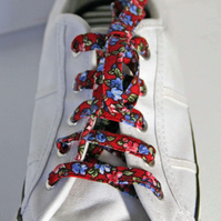 Pretty Patterned Cotton Shoelaces. Red and Blue Floral Pattern