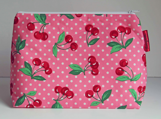 Retro Vintage Style Pink Polka Dot Cherries Large Wash Bag. Gift for Ladies