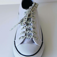 Pretty Purple and Cream Floral Patterned Cotton Shoelaces. Great Gift for Ladies
