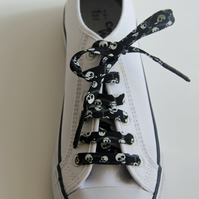 Black and White Mini Skulls Patterned Cotton Shoelaces