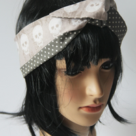 Retro Reversible Beige Skulls Hair Wrap. Head Scarf. Bandana.