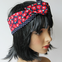 Retro Reversible Red and Navy Poppies Hair Wrap. Head Scarf. Bandana.