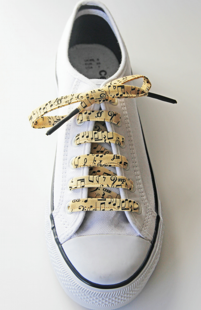 Gorgeous Music Symbols Cotton Shoelaces. Great Gift