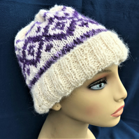 Alpaca Hat with Fair Isle Motif