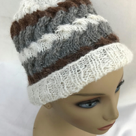 Hand Spun Alpaca Hat in Unusual Cable Pattern