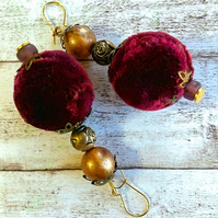 Velvet beaded earrings.