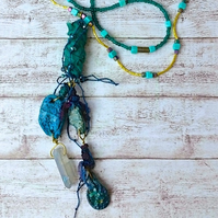 Bohemian polymer bead pendant necklace.