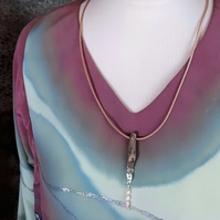 Birch driftwood, sterling silver heart, freshwater pink pearls pendant necklace.