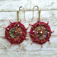 Sparkly pink embroidery beaded earrings.