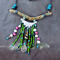 Driftwood and bead necklace.