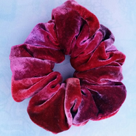 Silk velvet scrunchie, hand painted hair accessory.