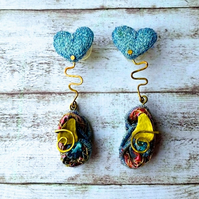 SALE Sparkly heart dangle earrings.