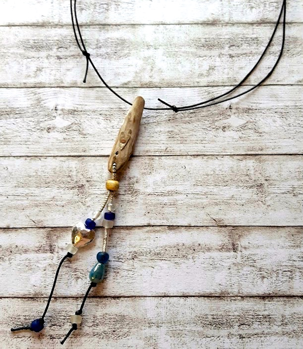 Birch driftwood silver heart hanging bead pendant necklace.