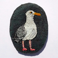 Hand stitched herring gull brooch.