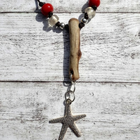 Starfish and driftwood pendant.