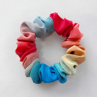 Small bright ombre painted silk hair band.