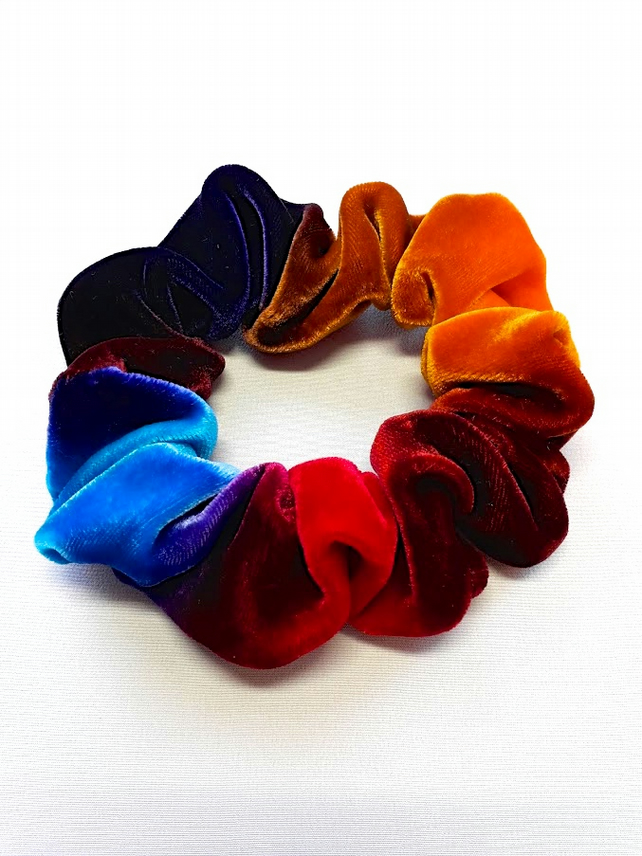 Ombre multicolour velvet hairband - scrunchie.