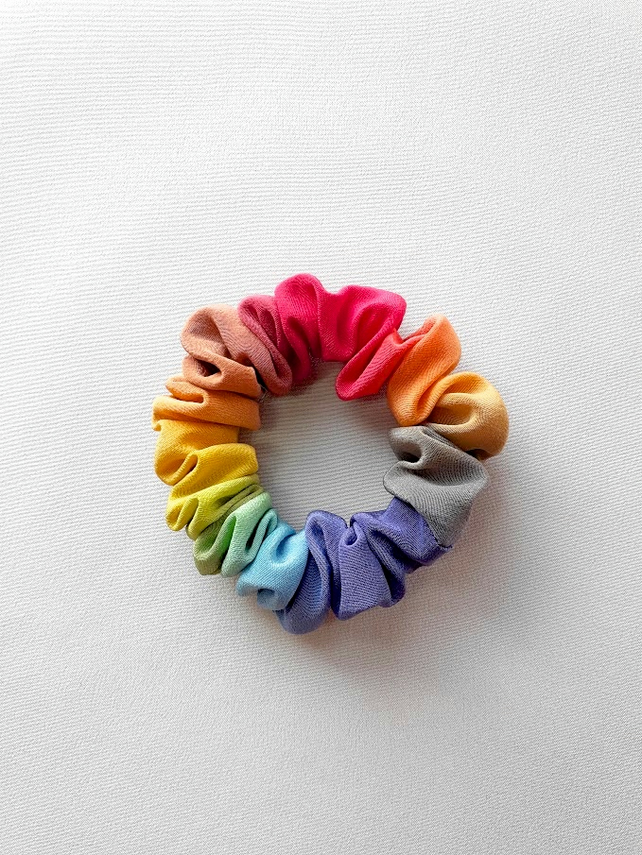Small bright ombre painted rainbow silk hairtie, scrunchie.