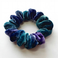Ombre muted green, mauve, grey, painted silk and viscose hairtie, scrunchie.
