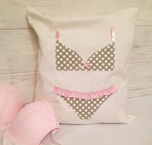 Pretty Green and White Dotty Lingerie Bag
