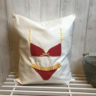 Red Polka Dot and Yellow Trim Lingerie Bag