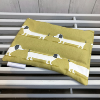 Cotton Wheat Bag - Dash hounds fabric Ochre