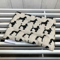 Cotton Wheat Bag - Natural with Black Dog Print Fabric