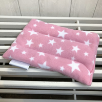 Wheat Bag in Pink Fleece Fabric with White Stars