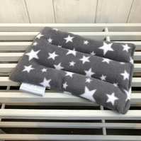 Wheat Bag in Grey Fleece Fabric with White Stars