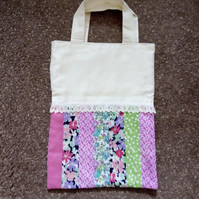 Floral Fabric Fully Lined Tote Bag