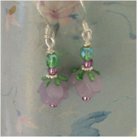 Lilac rose and moss earrings