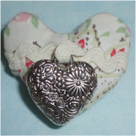 Heart shaped brooch-with charm- Cath Kidston fabric