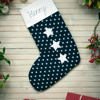 Blue and white personalised nautical star stocking