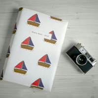 Nautical baby gift - personalised photo album in original sailing boat fabric