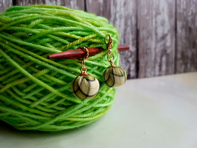 Tartan fabric stitch markers for your knitting and crochet projects.